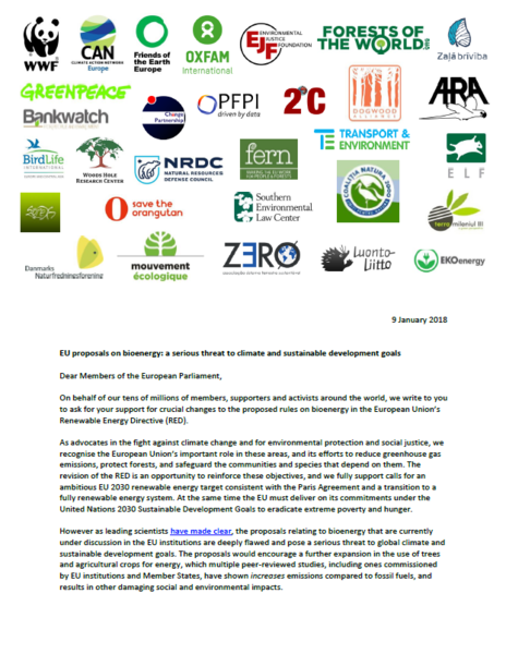 EU proposals on bioenergy: a serious threat to climate and sustainable development goals