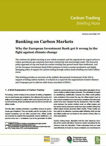 Banking on carbon markets: Why the European Investment Bank got it wrong in the fight against climate change