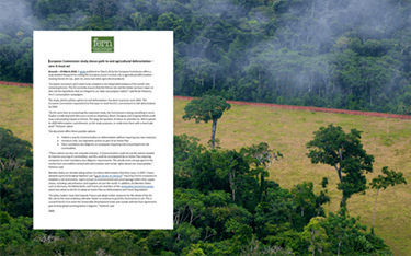 European Commission study shows path to end agricultural deforestation – now it must act