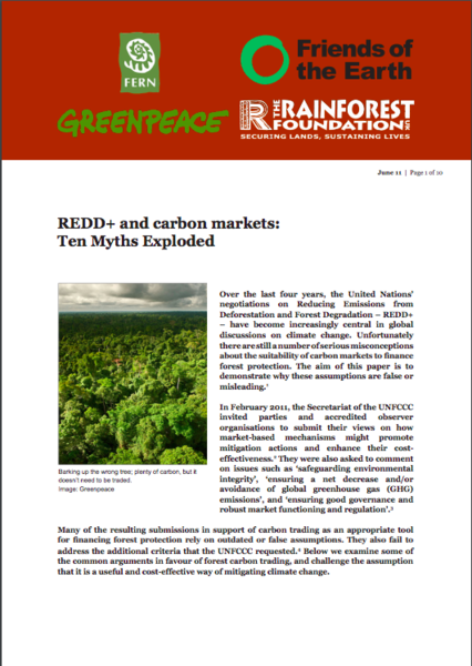 REDD+ and carbon markets:Ten Myths Exploded