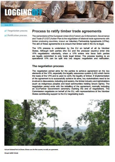 Process to ratify timber trade agreements
