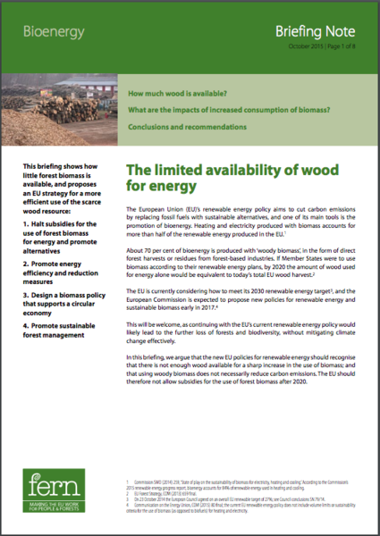 Bioenergy briefing note 1: the limited availability of wood for energy