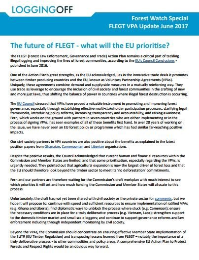Forest Watch VPA Update June 2017: The future of FLEGT, what will the EU prioritise?