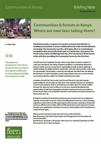 Communities & forests in Kenya: Where are new laws taking them?