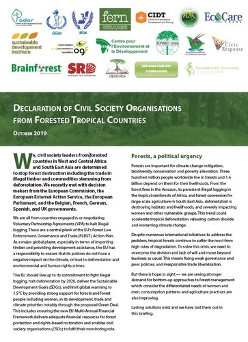 Declaration of Civil Society Organisations from Forested Tropical Countries