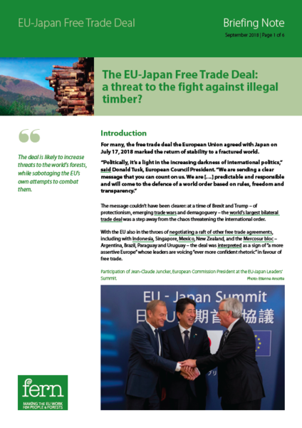 The EU-Japan Free Trade Deal: a threat to the fight against illegal timber?