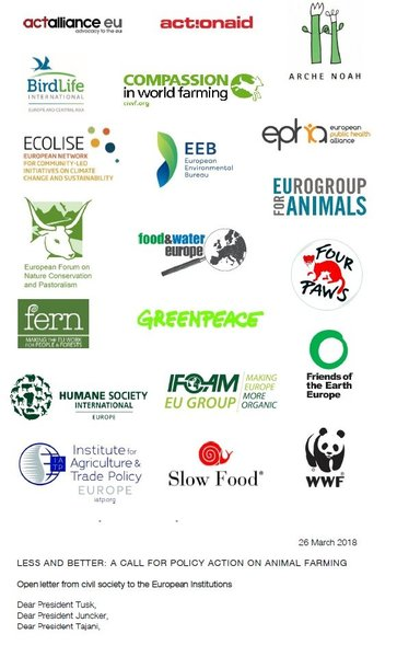 Civil society open letter: a call for policy action on animal farming