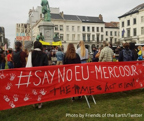 Demonstration in Brussels against Mercosur credit Friends of the Earth FW March 2021