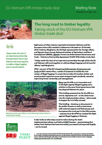 The long road to timber legality: Taking stock of the EU-Vietnam VPA timber trade deal