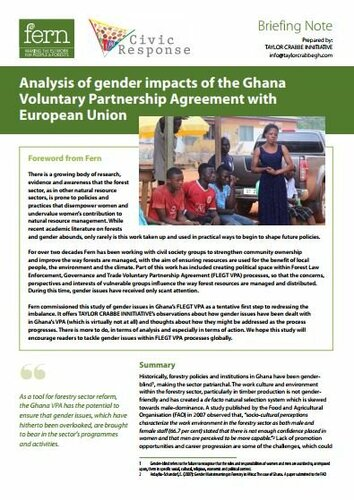 Analysis of gender impacts of the Ghana Voluntary Partnership Agreement with European Union