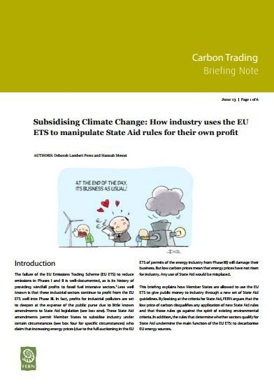 Subsidising Climate Change: How industry uses the EU ETS to manipulate State Aid rules for their own profit