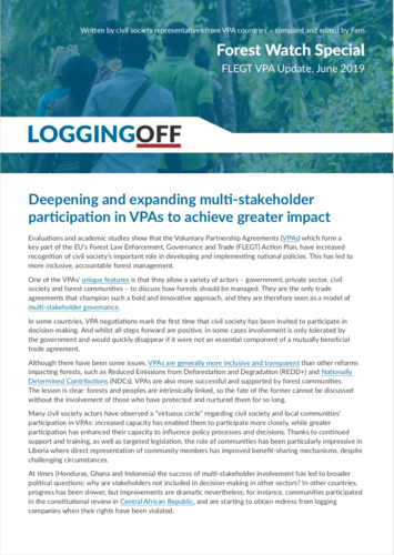 Deepening and expanding multi-stakeholder participation in VPAs to achieve greater impact
