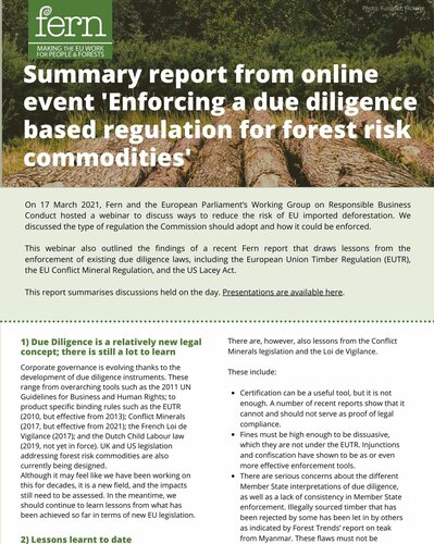 Enforcing a Due Diligence based regulation for forest risk commodities