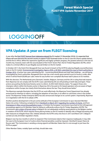 A year on from FLEGT licensing - VPA Update, November 2017