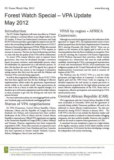 FLEGT VPA Update May 2012