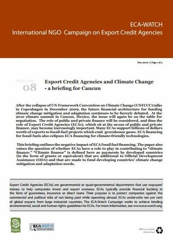 Export Credit Agencies and Climate Change: a briefing for Cancun