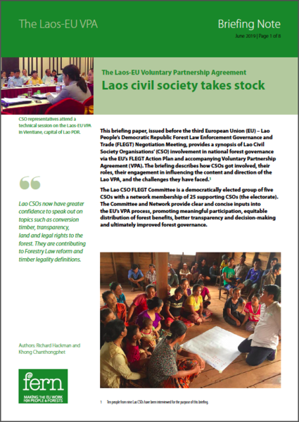 The Laos-EU Voluntary Partnership Agreement: Laos civil society takes stock