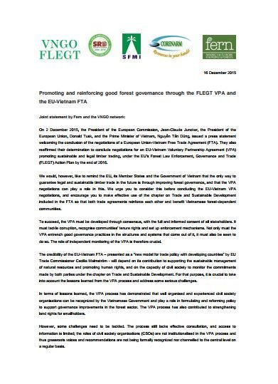 Vietnamese NGOs call for improved forest governance through FLEGT VPA and free trade deal