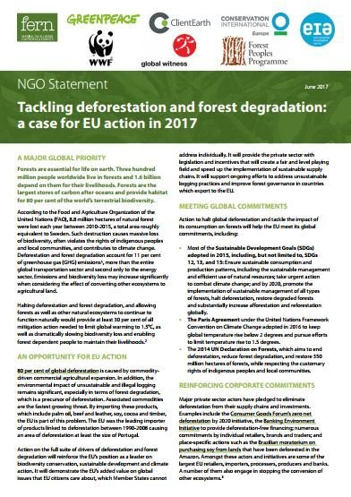 Tackling deforestation and forest degradation: a case for EU action