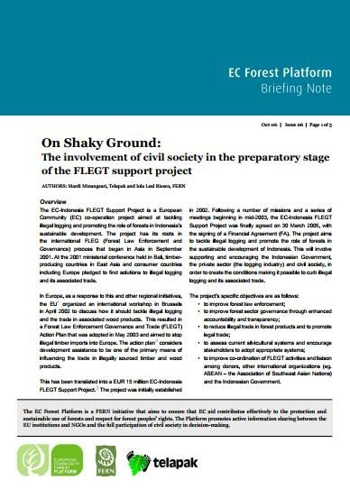 On Shaky Ground: The involvement of civil society in the preparatory stage of the FLEGT support project