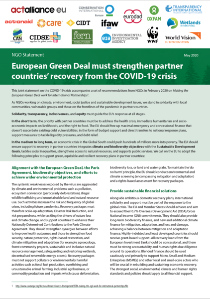 European Green Deal must strengthen partner countries' recovery from the COVID-19 crisis