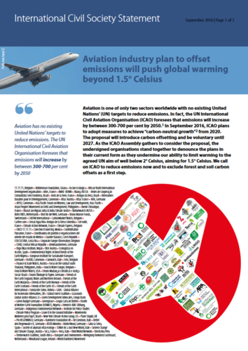 Aviation industry plan to offset  emissions will push global warming  beyond 1.5° Celsius