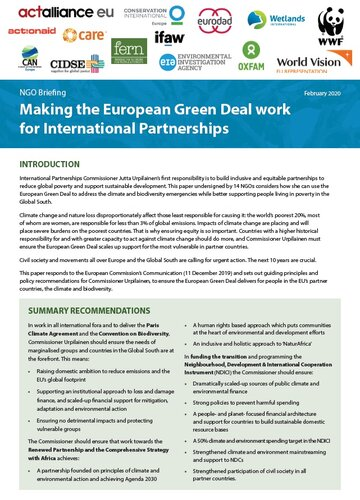 Making the European Green Deal work for International Partnerships