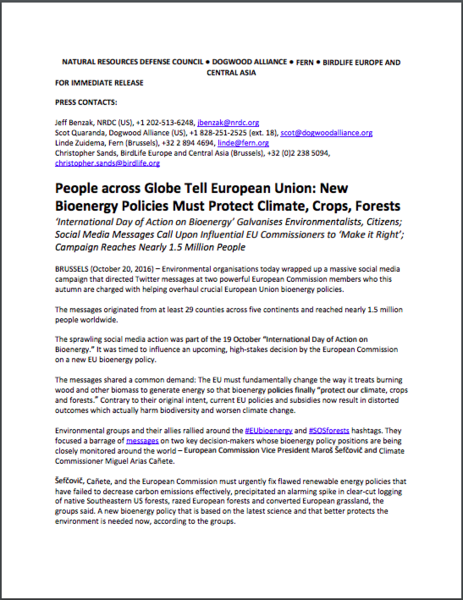 People across globe tell European Union: New bioenergy policies must protect climate, crops, forests