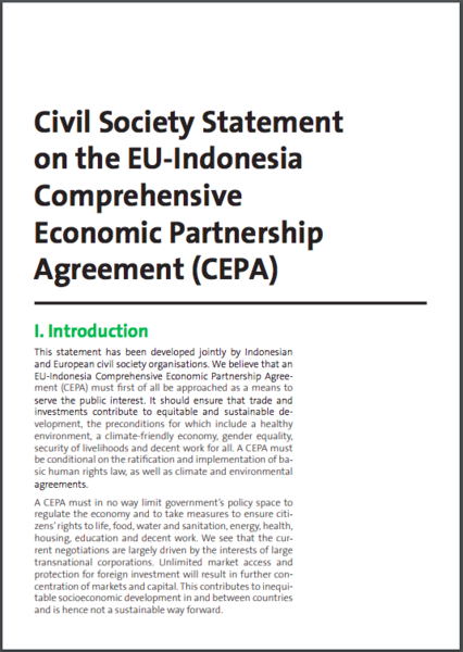 Civil Society Statement on the EU-Indonesia Comprehensive Economic Partnership Agreement (CEPA)