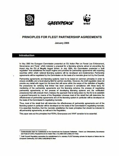 Principles for FLEGT Partnership agreements