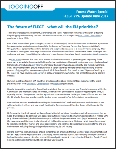 ForestWatch VPA Update June 2017: The future of FLEGT - what will the EU prioritise?
