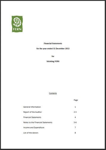 Financial Statements for the year ending 31 December 2013