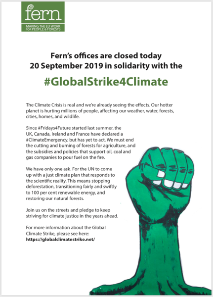 Fern's offices are closed today 20 September 2019 in solidarity with the #GlobalStrike4Climate