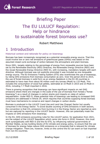 The EU LULUCF Regulation: Help or hindrance to sustainable forest biomass use?