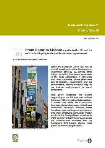 From Rome to Lisbon: a guide to the EU and its role in developing trade and investment agreements