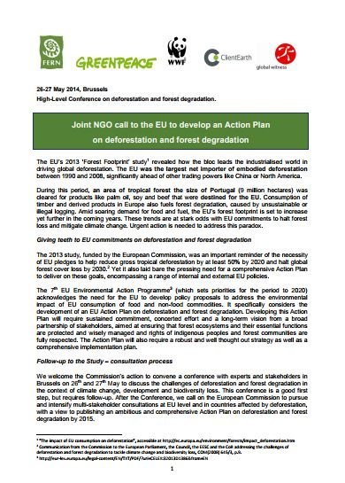 Joint NGO call to the EU to develop an Action Plan on deforestation and forest degradation
