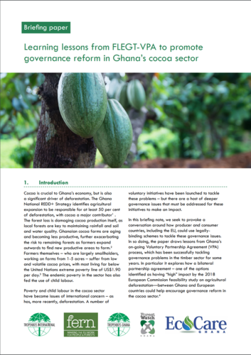 Learning lessons from FLEGT-VPA to promote governance reform in Ghana's cocoa sector