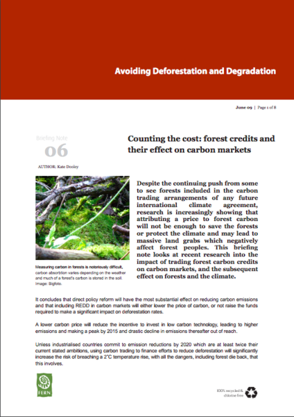 Counting the cost: forest credits and their effect on carbon markets