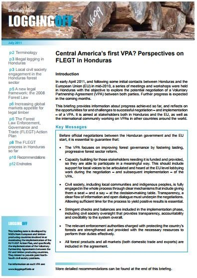 Central America's first VPA? Perspectives on FLEGT in Honduras