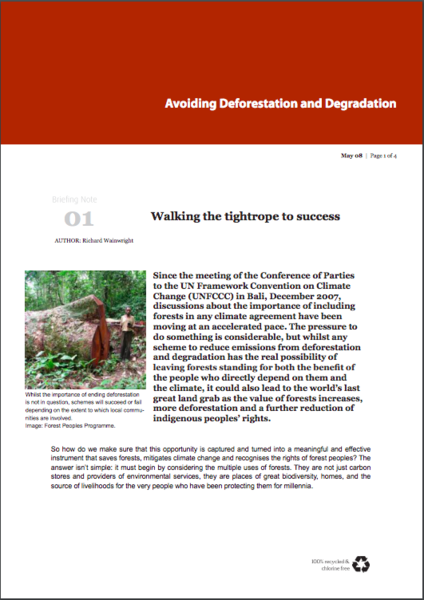 Avoiding Deforestation and Degradation: Walking the tightrope to success