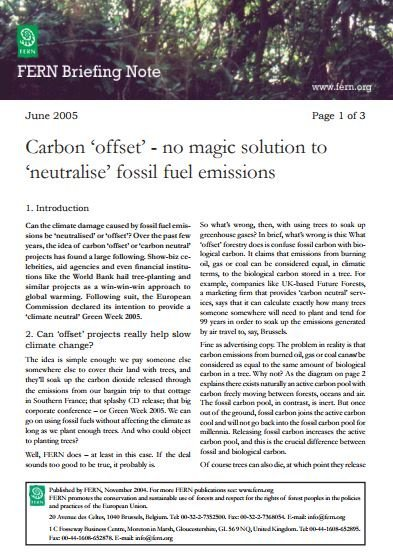 Carbon offset - no magic solution to neutralise fossil fuel emissions