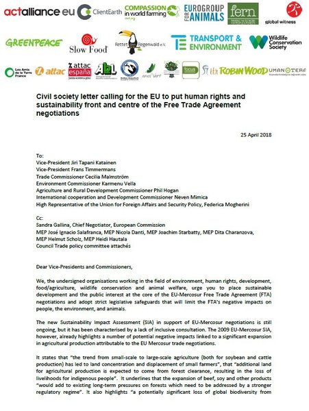 Civil society letter on the EU/Mercosur Free Trade Deal negotiations