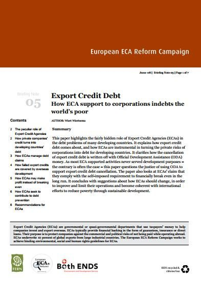 Export Credit Debt. How ECA support to corporations indebts the worlds poor