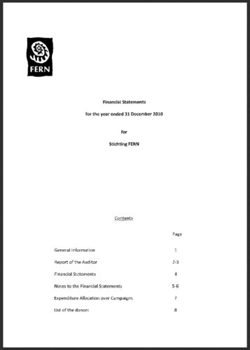 Financial Statements for the year ending 31 December 2010