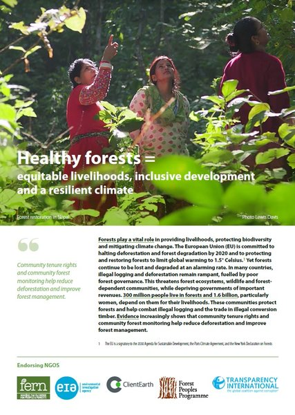 Healthy forests = equitable livelihoods, inclusive development and a resilient climate