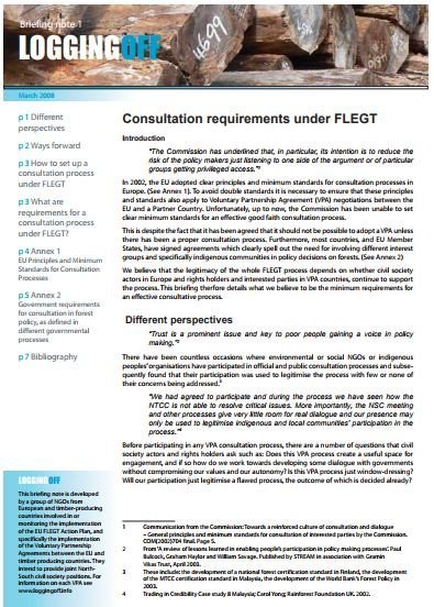 Consultation requirements under FLEGT
